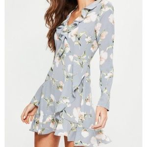 Blue floral ruffle dress misguided small